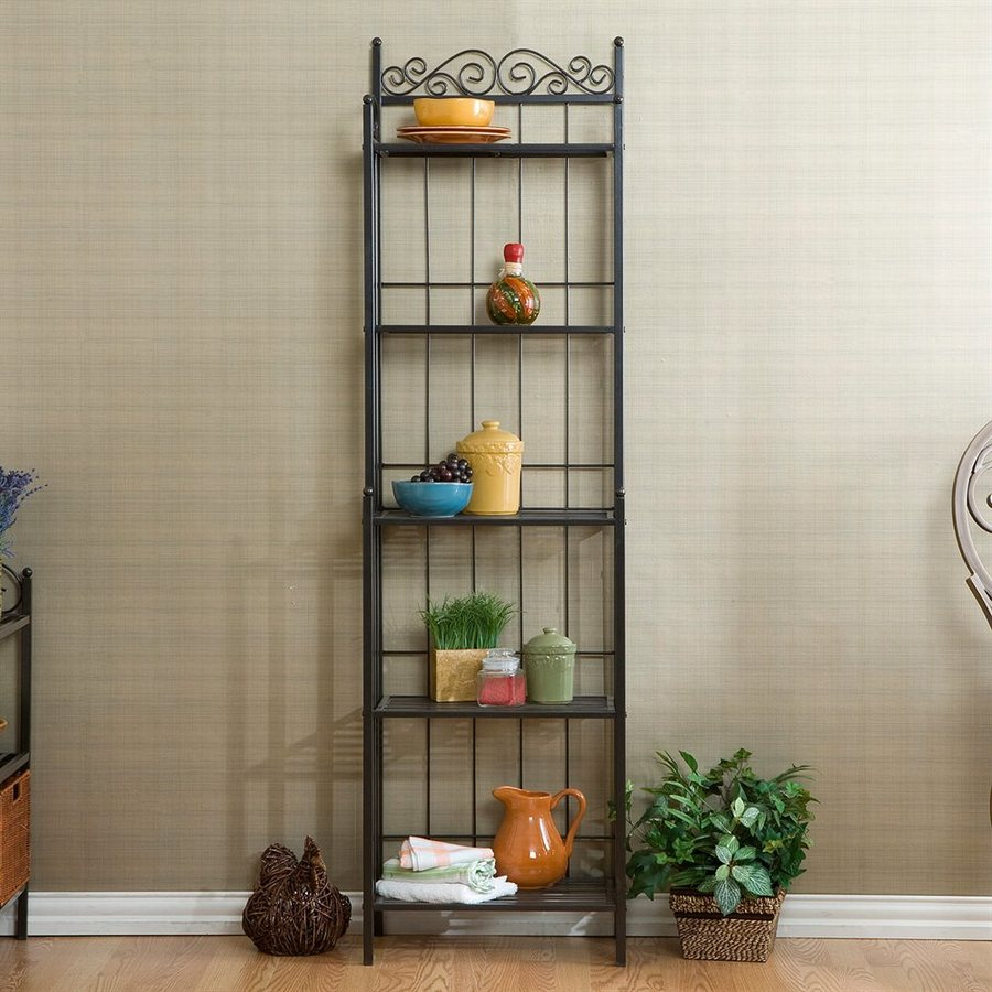 Boston Loft Furnishings Celtic Gun Metal Grey Metal Bakers Rack