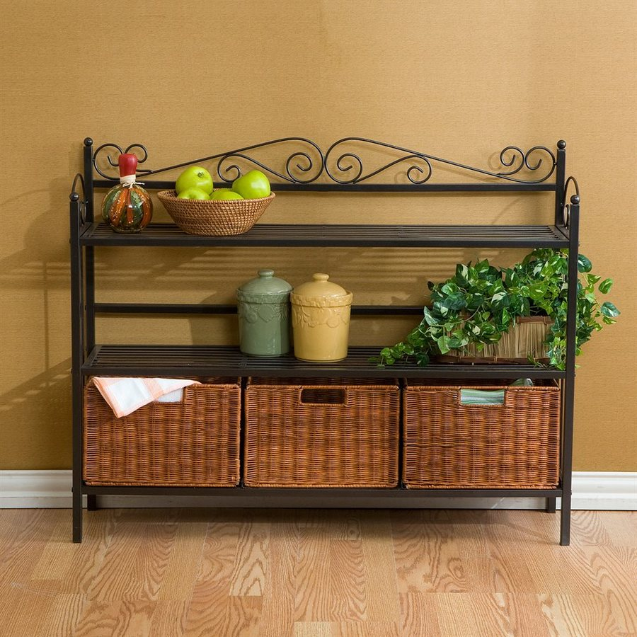 Boston Loft Furnishings Celtic Gun Metal Grey Bakers Rack