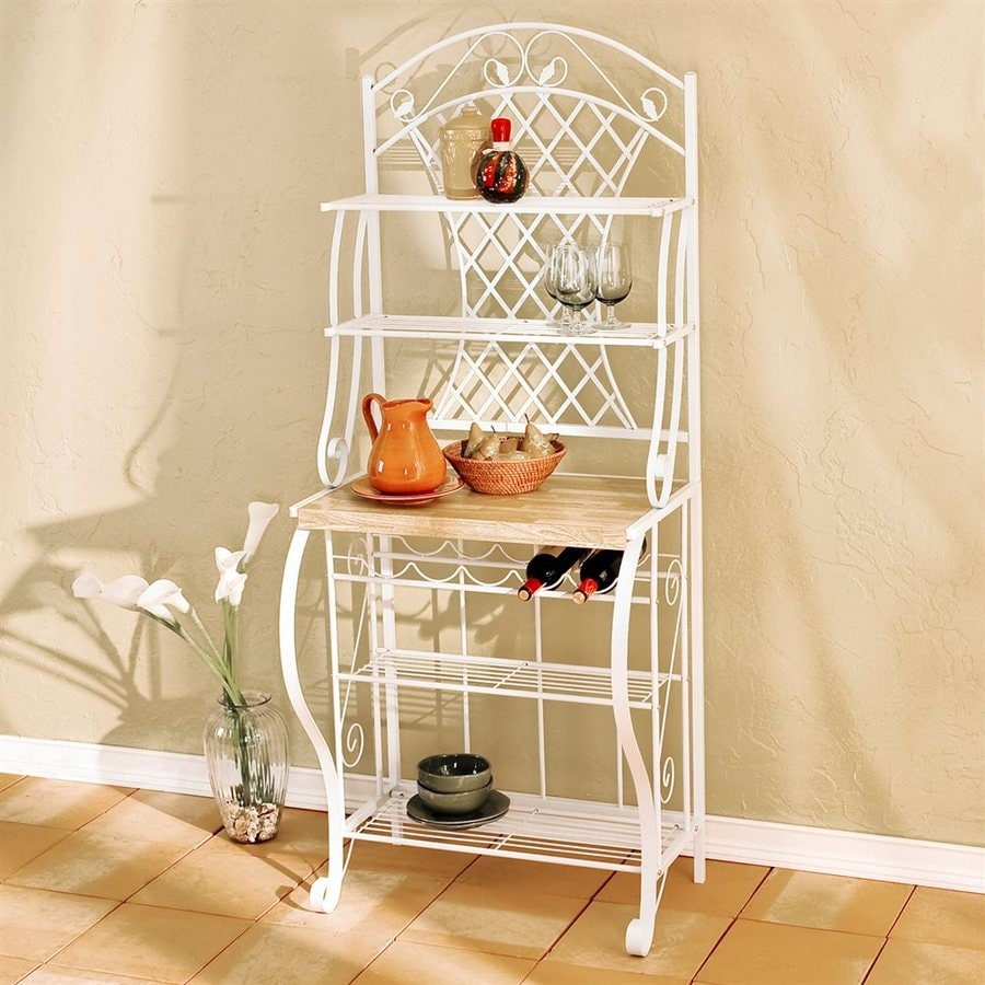 Boston Loft Furnishings Trellis White Rectangular Bakers Rack