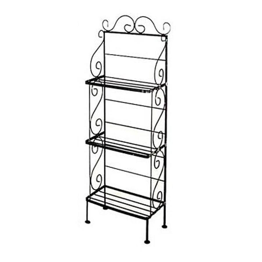 Grace Collection Satin Black Metal Bakers Rack