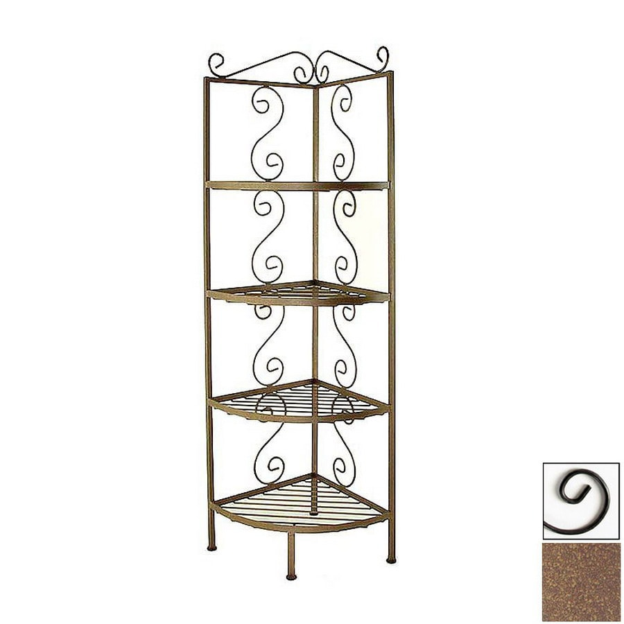 Grace Collection Burnished Copper Corner Bakers Rack