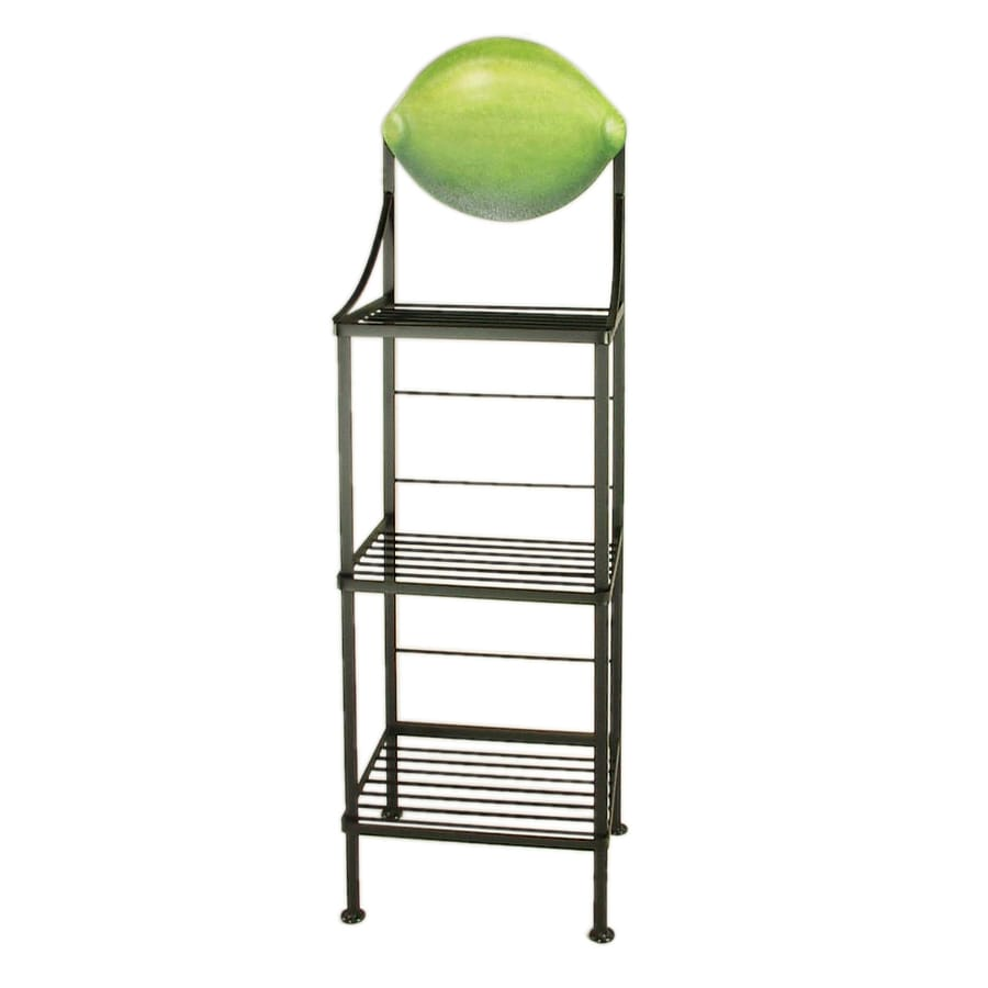 Grace Collection Art Satin Black Rectangular Bakers Rack