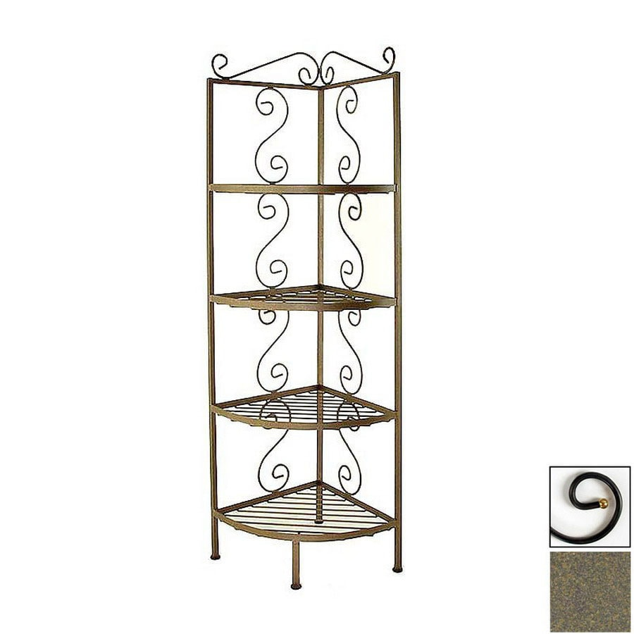 Grace Collection Antique Bronze Corner Bakers Rack
