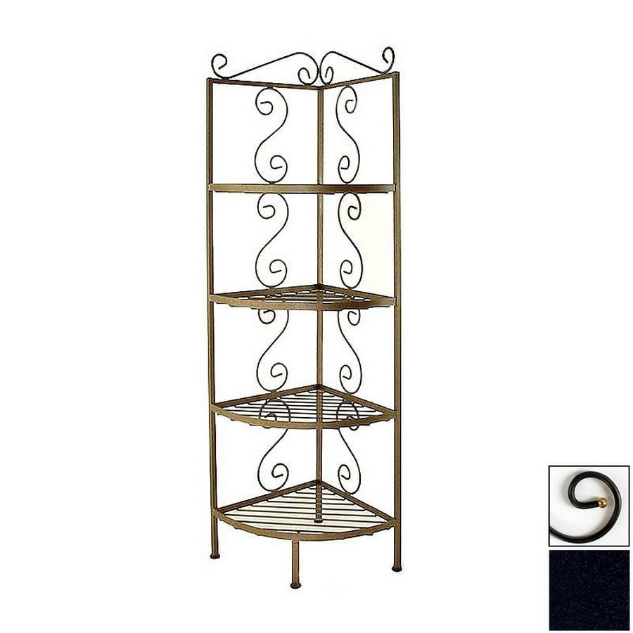 Shop Grace Collection Satin Black Metal Bakers Rack At Lowes.com