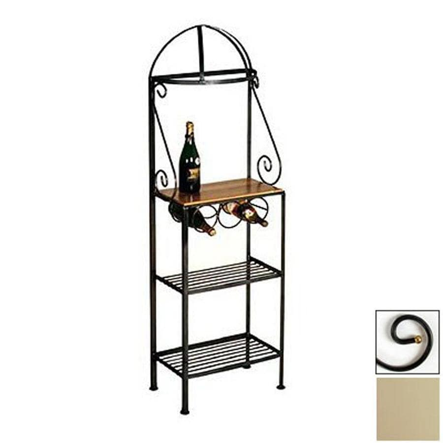 Grace Collection Gourmet Stone Metal Bakers Rack with Wine Storage