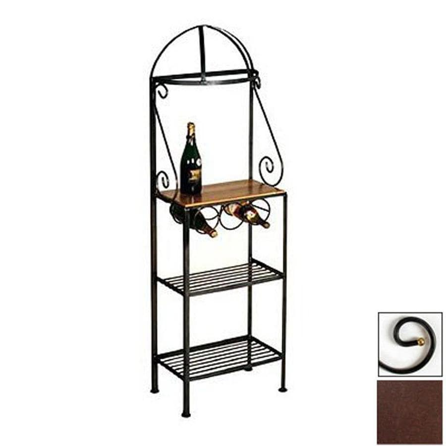 Shop Grace Collection Gourmet Aged Iron Metal Bakers Rack With Wine Storage At Lowes.com