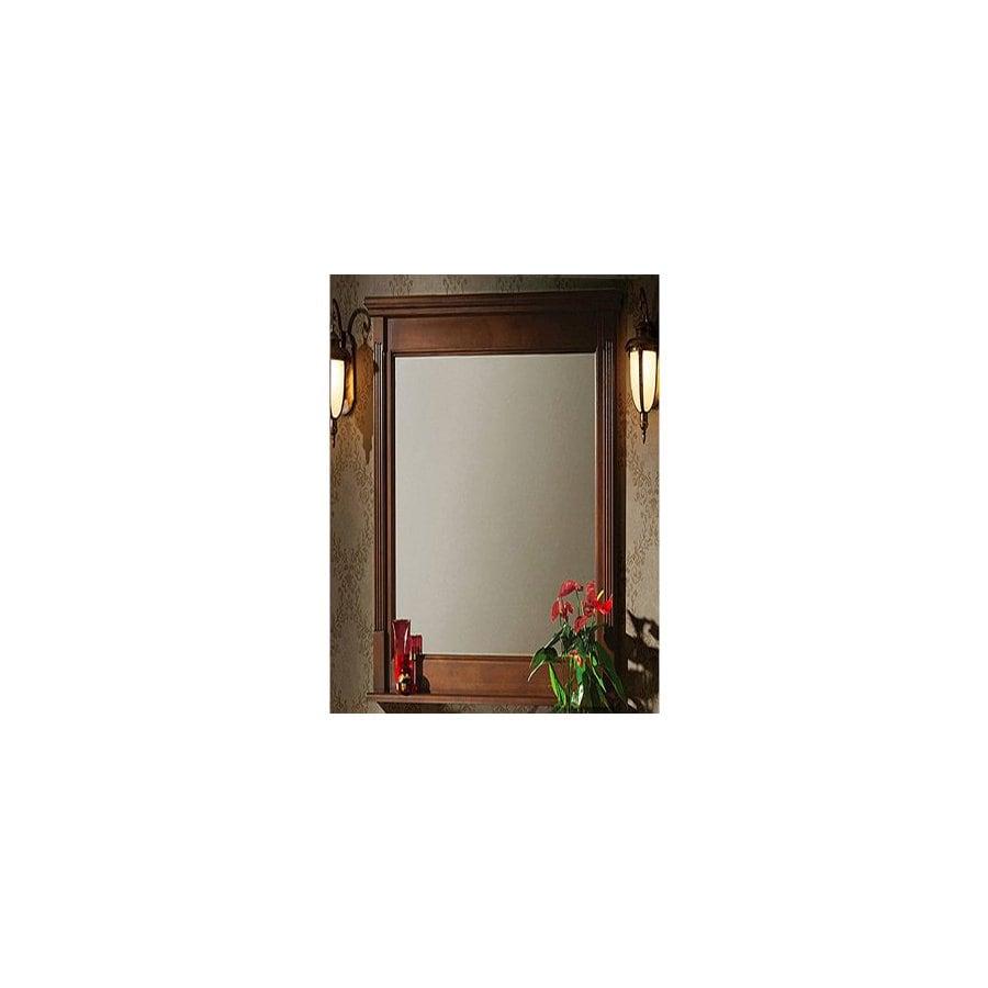 Legion Furniture 24-in x 33-in Light walnut Rectangular Framed Bathroom Mirror