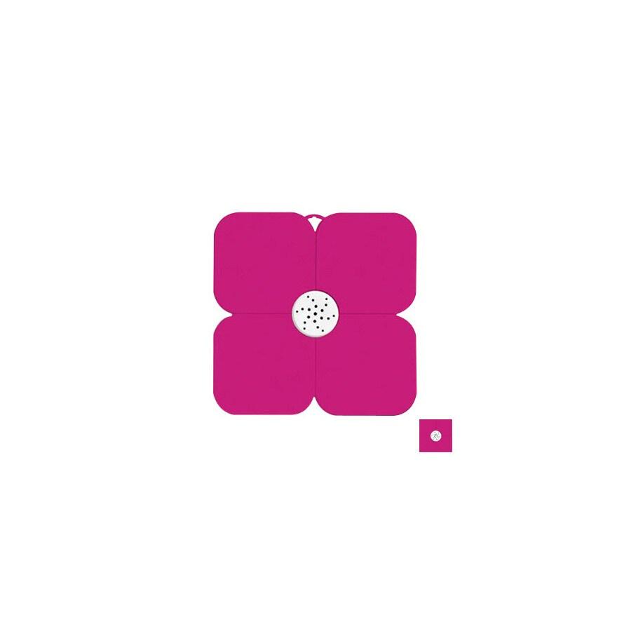 Nameeks Fiorilu 21.63-in x 21.63-in White/Fuchsia Bath Mat