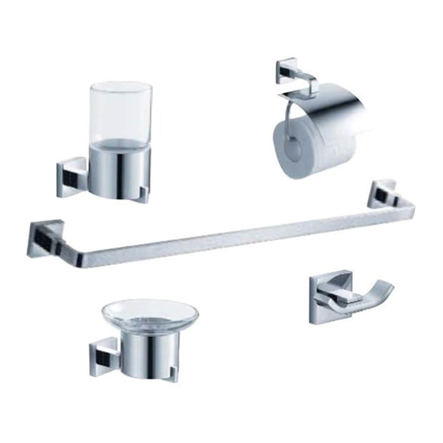 Shop fresca 5 piece glorioso chrome decorative bathroom for Bathroom hardware sets