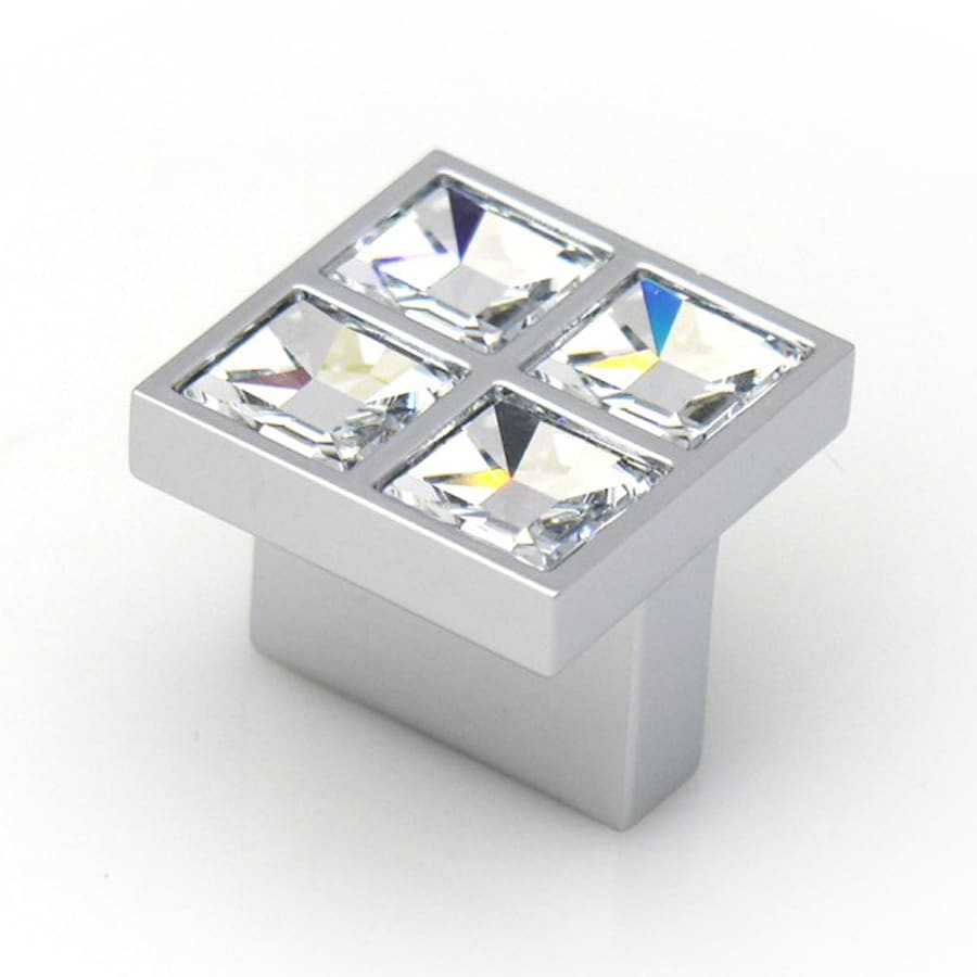 Topex Hardware Swarovski Bright Chrome Square Cabinet Knob