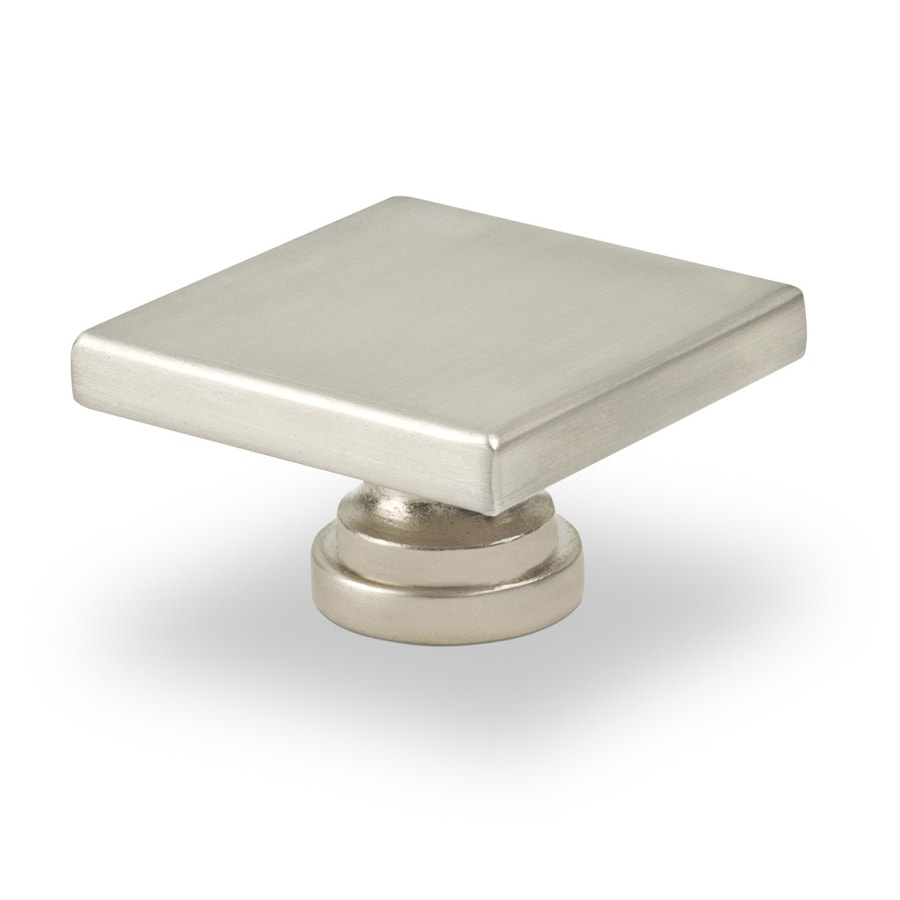 Shop topex hardware contemporary satin nickel square for Square kitchen cabinet knobs