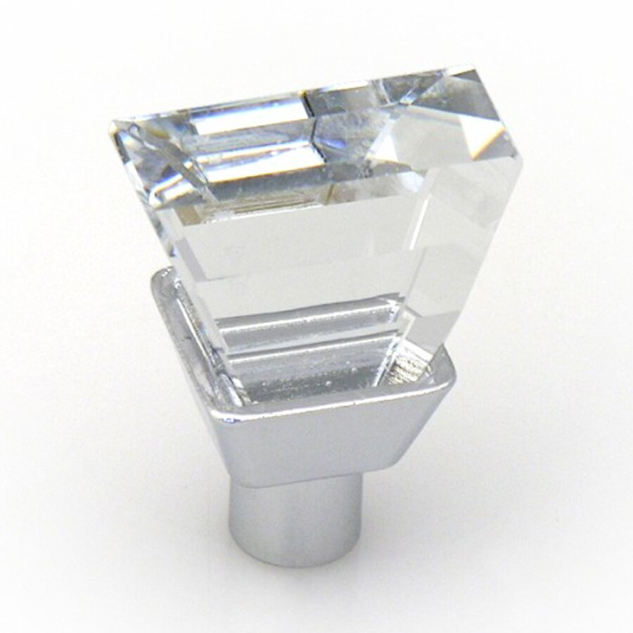 Topex Hardware Swarovski Bright Chrome Rectangular Cabinet Knob