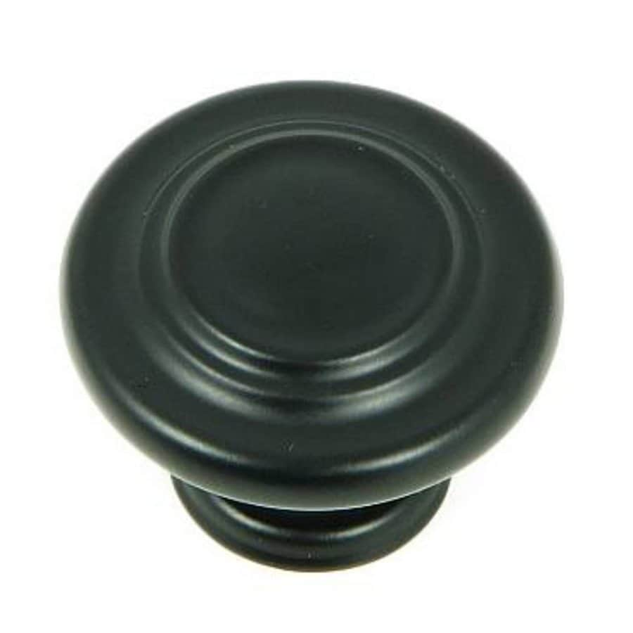 Stone Mill Hardware Matte Black Round Cabinet Knob At
