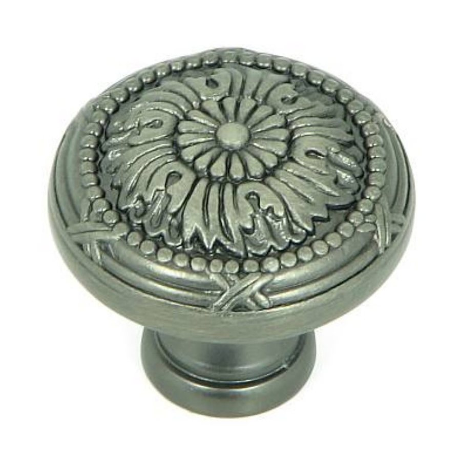 Stone Mill Hardware Floral Weathered Nickel Round Cabinet Knob