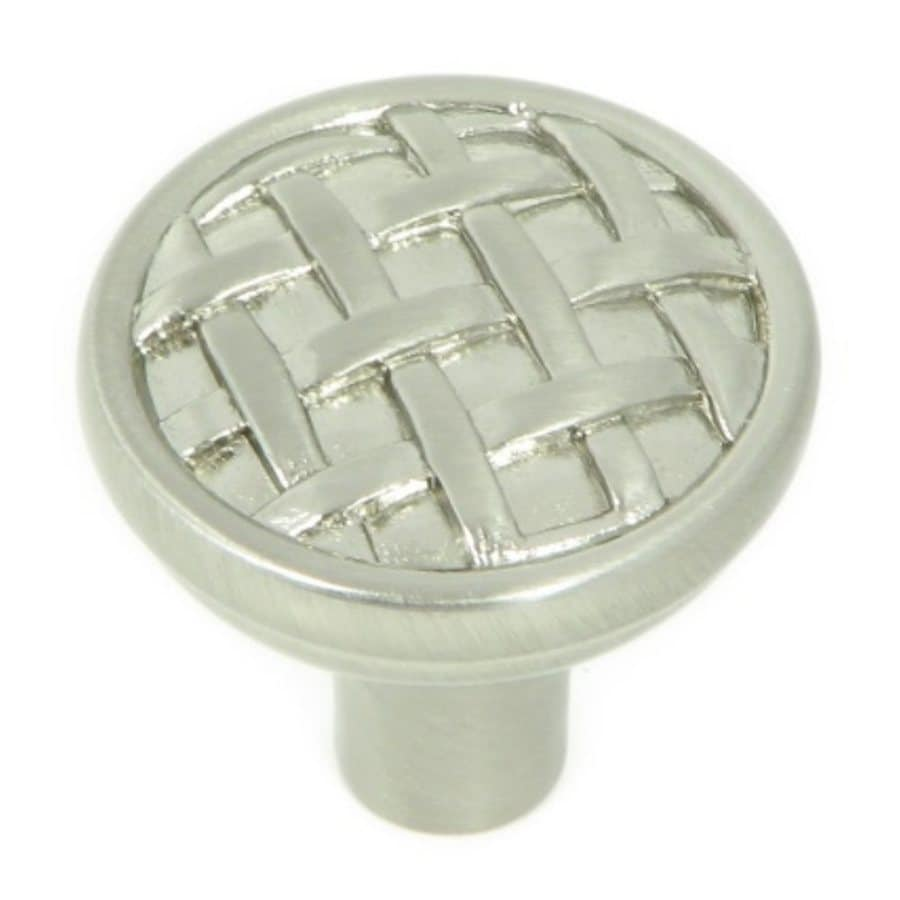 Stone Mill Hardware Basket Weave Satin Nickel Round Cabinet Knob