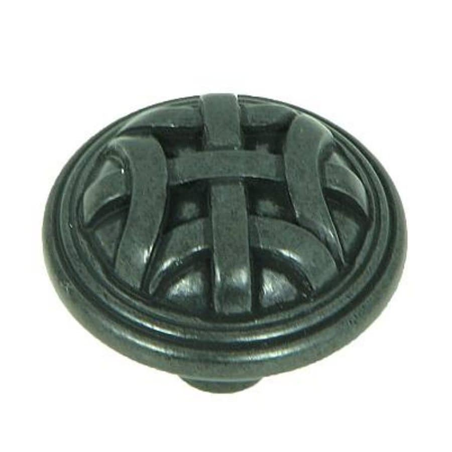 Stone Mill Hardware Cross Flory Black Antique Round Cabinet Knob