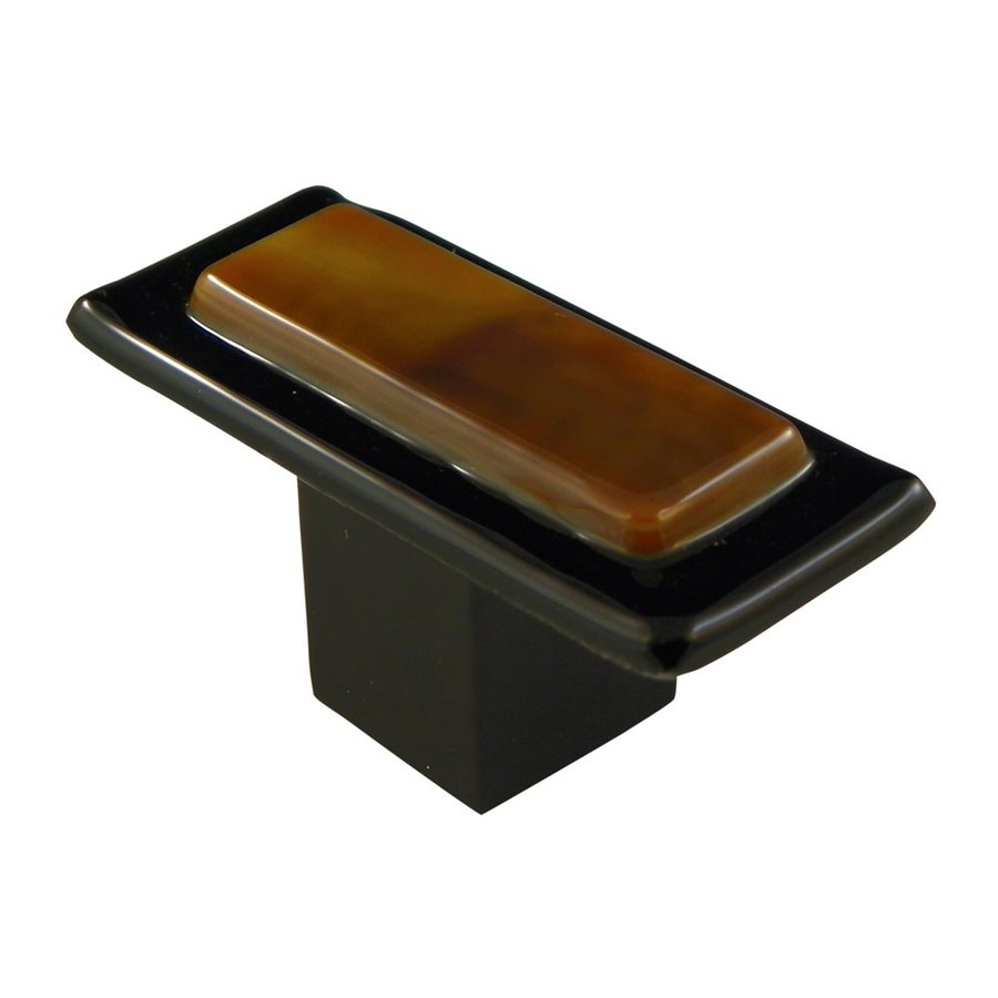 Grace White Glass Earth Elements Satin Black Rectangular Cabinet Knob