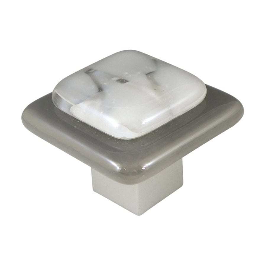 Grace White Glass Layers Satin Nickel Square Small Cabinet Knob