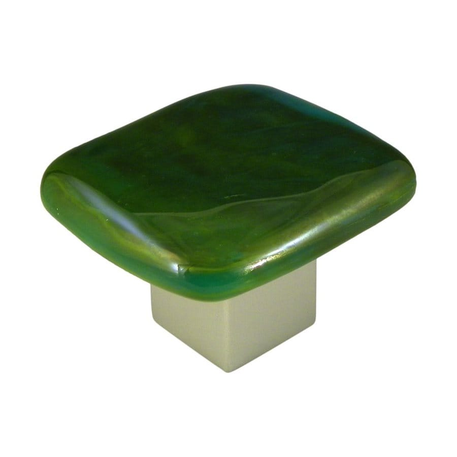 Grace White Glass 1-1/2-in Satin Nickel Square Cabinet Knob