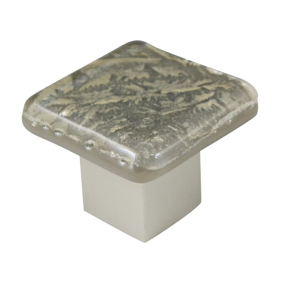 Grace White Glass Frost Satin Nickel Square Cabinet Knob