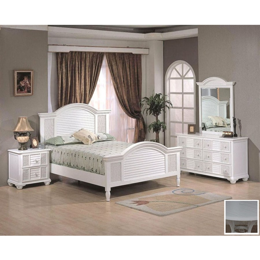 Shop hospitality rattan ships wheel white queen bedroom for Rattan bedroom set