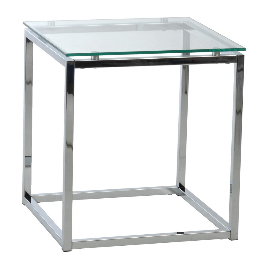 Eurostyle Sandor Clear/Chrome Square End Table