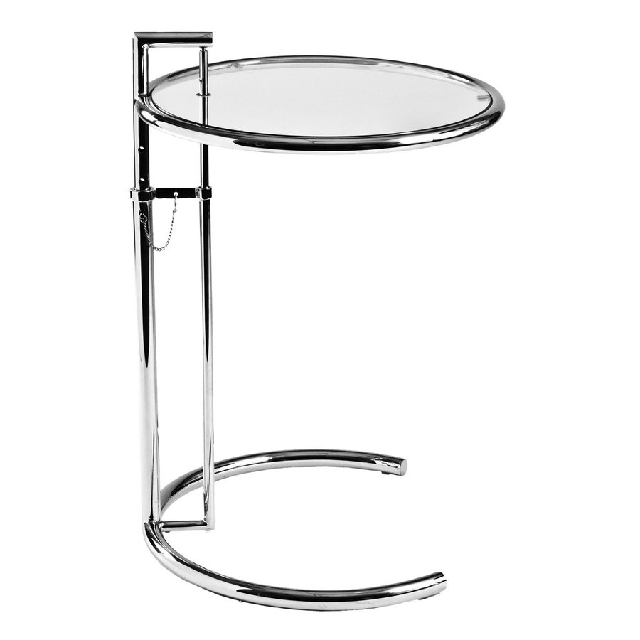 Eurostyle Eileen Gray Chrome Glass Modern End Table