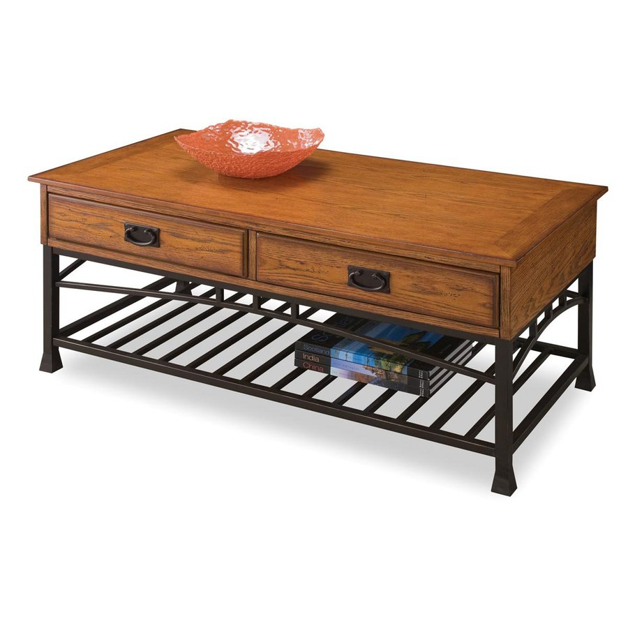 Shop Home Styles Modern Craftsman Distressed Oak Poplar Coffee Table At