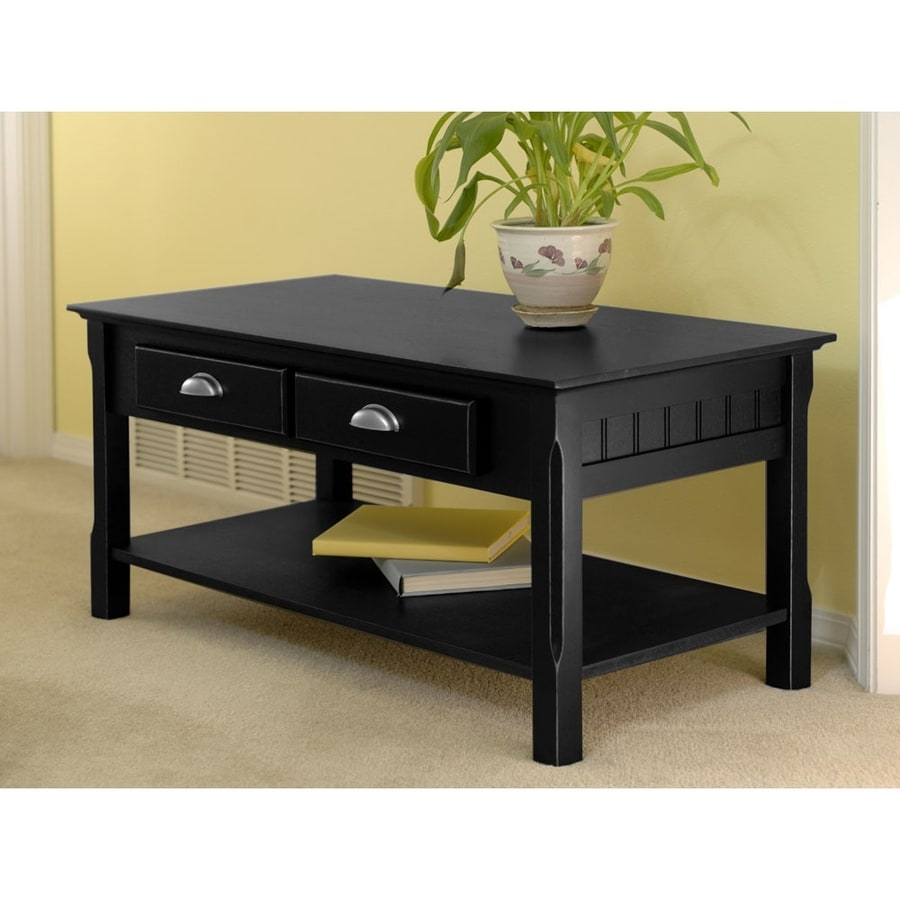 shop winsome wood timber black rectangular coffee table at