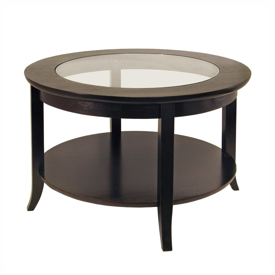 Shop winsome wood genoa glass round coffee table at for Living coffee table