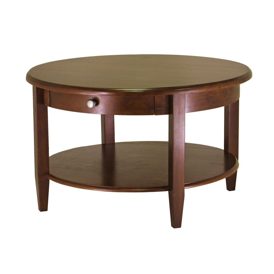 shop winsome wood concord antique walnut round coffee table at. Black Bedroom Furniture Sets. Home Design Ideas