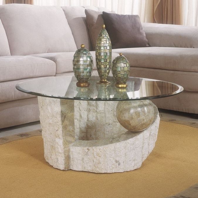 Magnussen Home Ponte Vedra Stone And Glass Round Coffee Table In The Coffee Tables Department At Lowes Com
