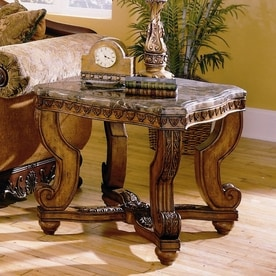 homelegance tarantula burnished brown cherry granitemarble ornate end table - Lowes End Tables