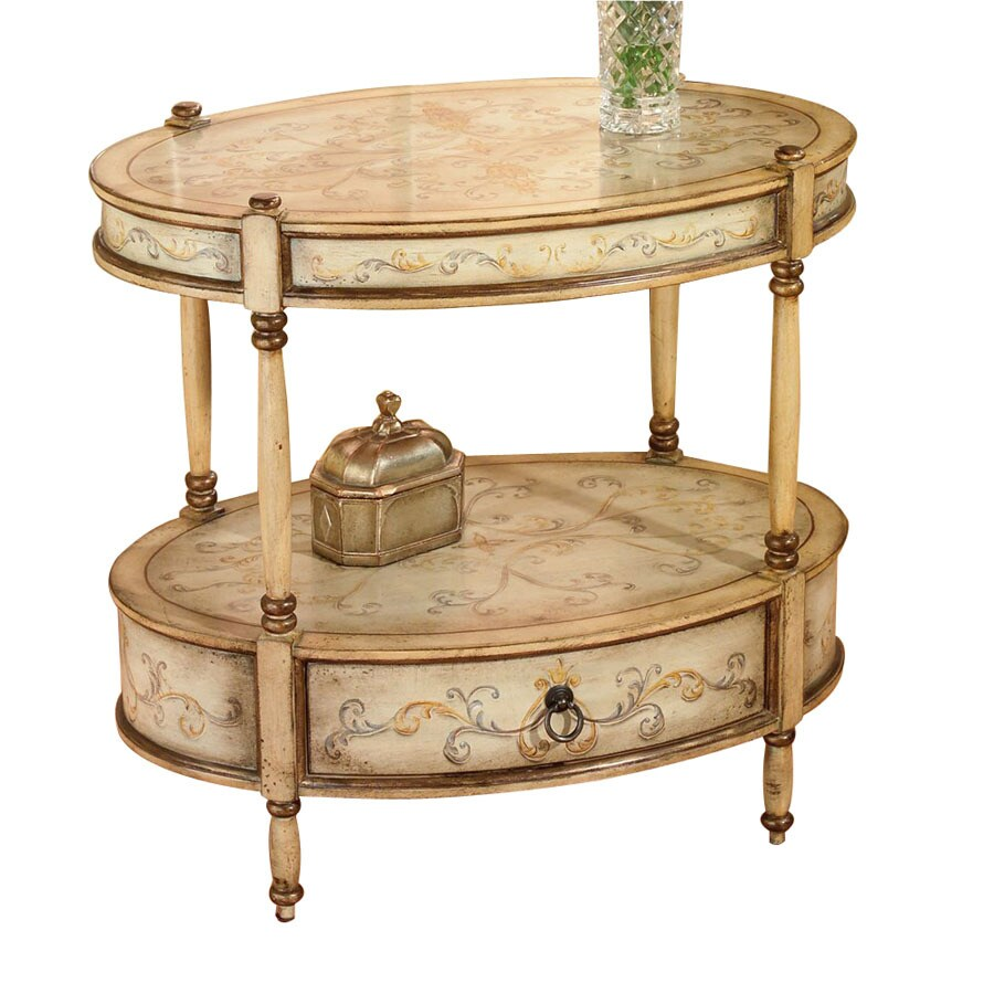 Butler Specialty Artists Originals Tuscan Cream Hand Painted Oval End Table