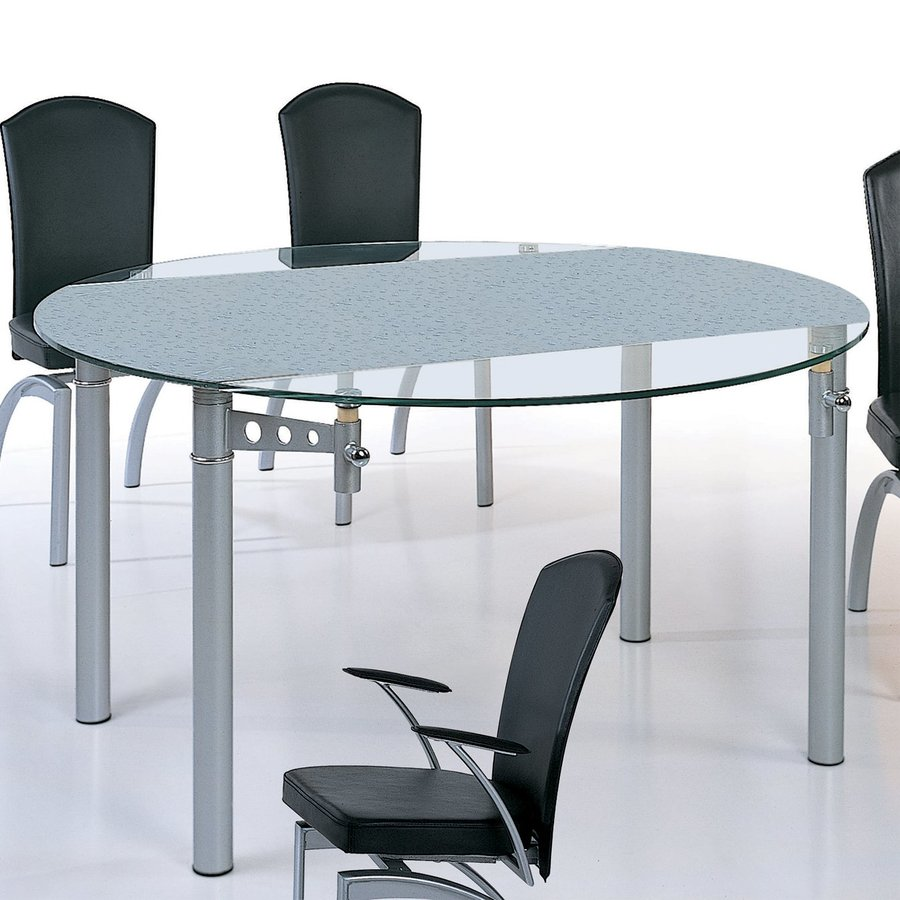 Shop beverly hills furniture tempered glass round for Tempered glass dining table