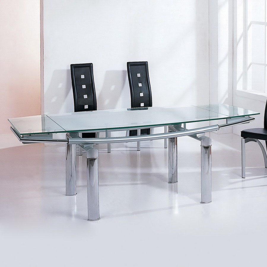 BH Design Chrome Plated/Silver Rectangular Dining Table