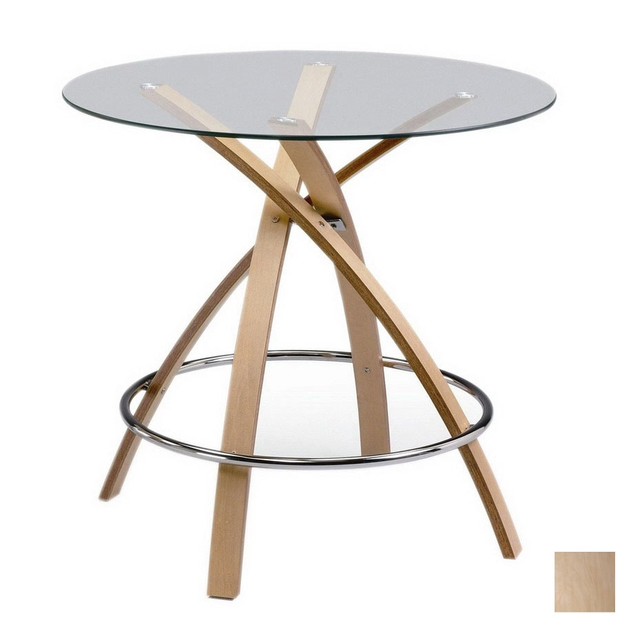 New Spec Cafe Chrome/Natural Round Dining Table