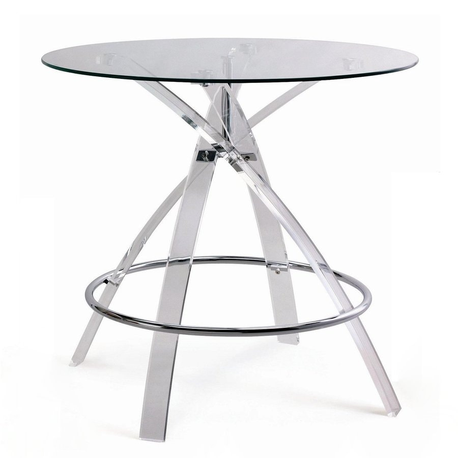 New Spec Cafe Chrome/Clear Round Dining Table