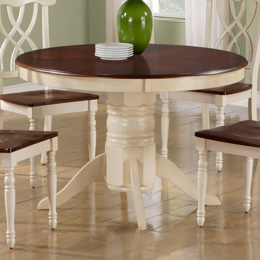 Round Kitchen Tables: Monarch Specialties Antique White/Walnut Round Dining