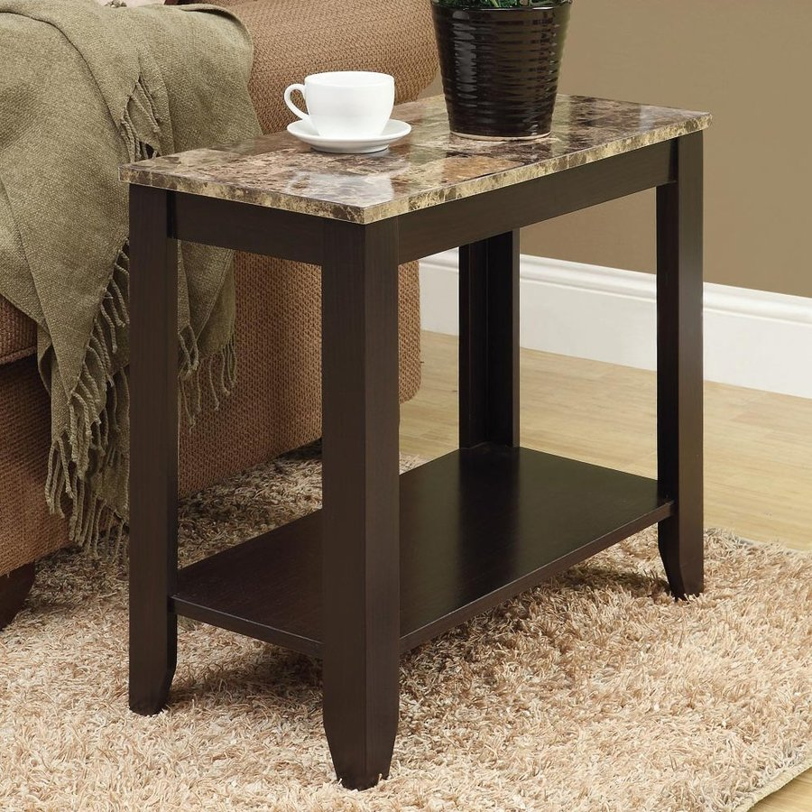 Monarch Specialties Cuccino Faux Marble Casual End Table