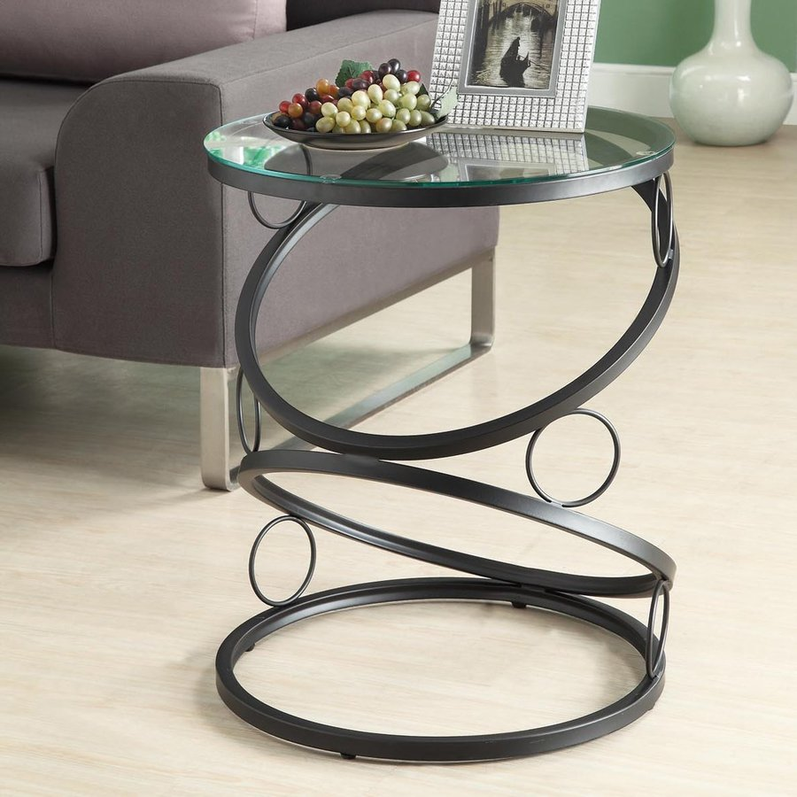 Monarch Specialties Black Round End Table
