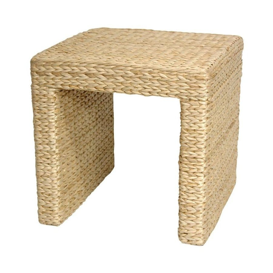 Oriental Furniture Fiber Weave Natural Rush Grass Square End Table