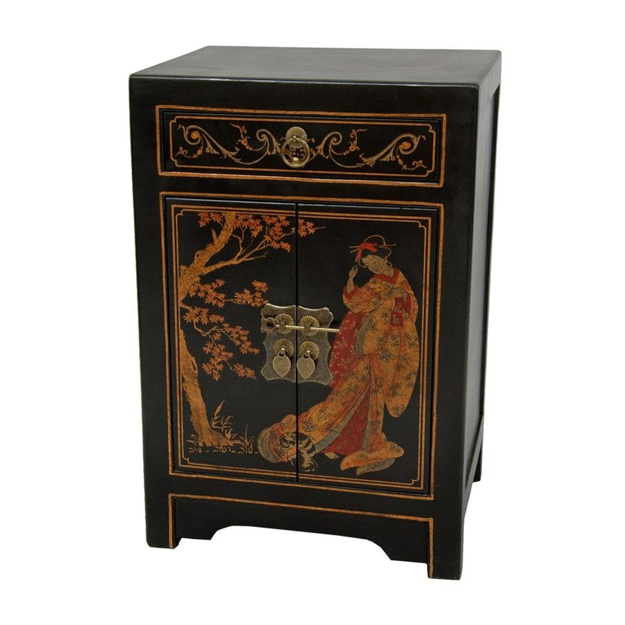 Shop oriental furniture black lacquer pine end table at for Oriental furniture