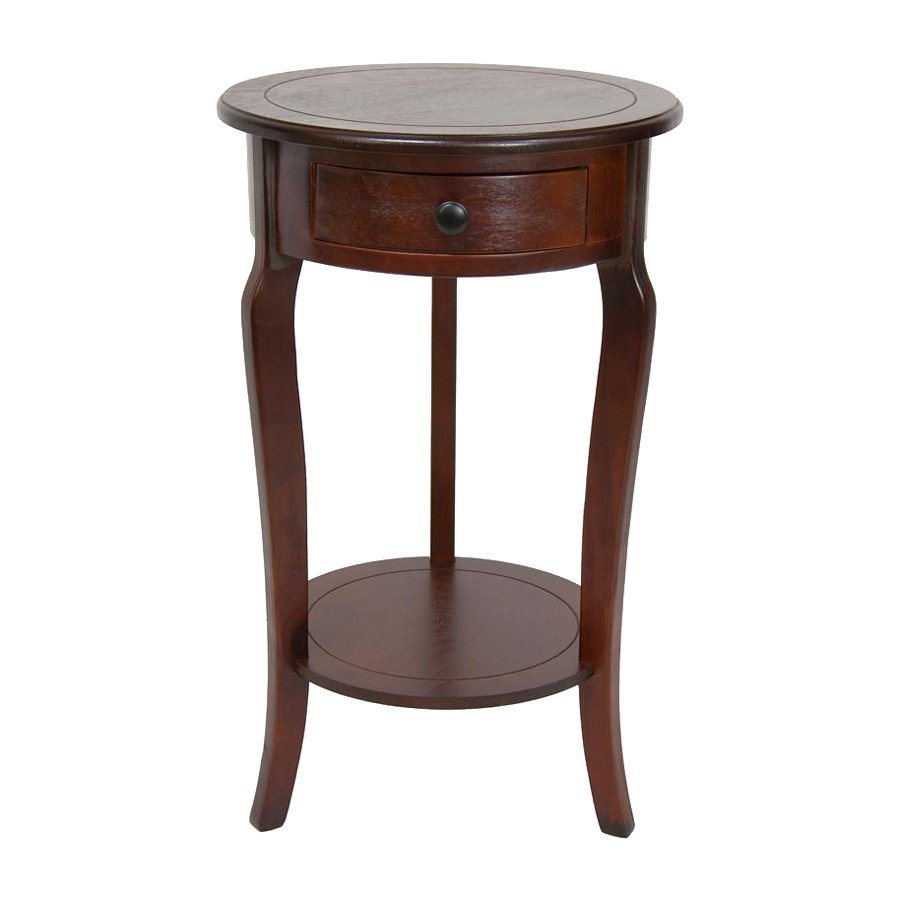 Oriental Furniture Classic Design Cherry Pine Round End Table