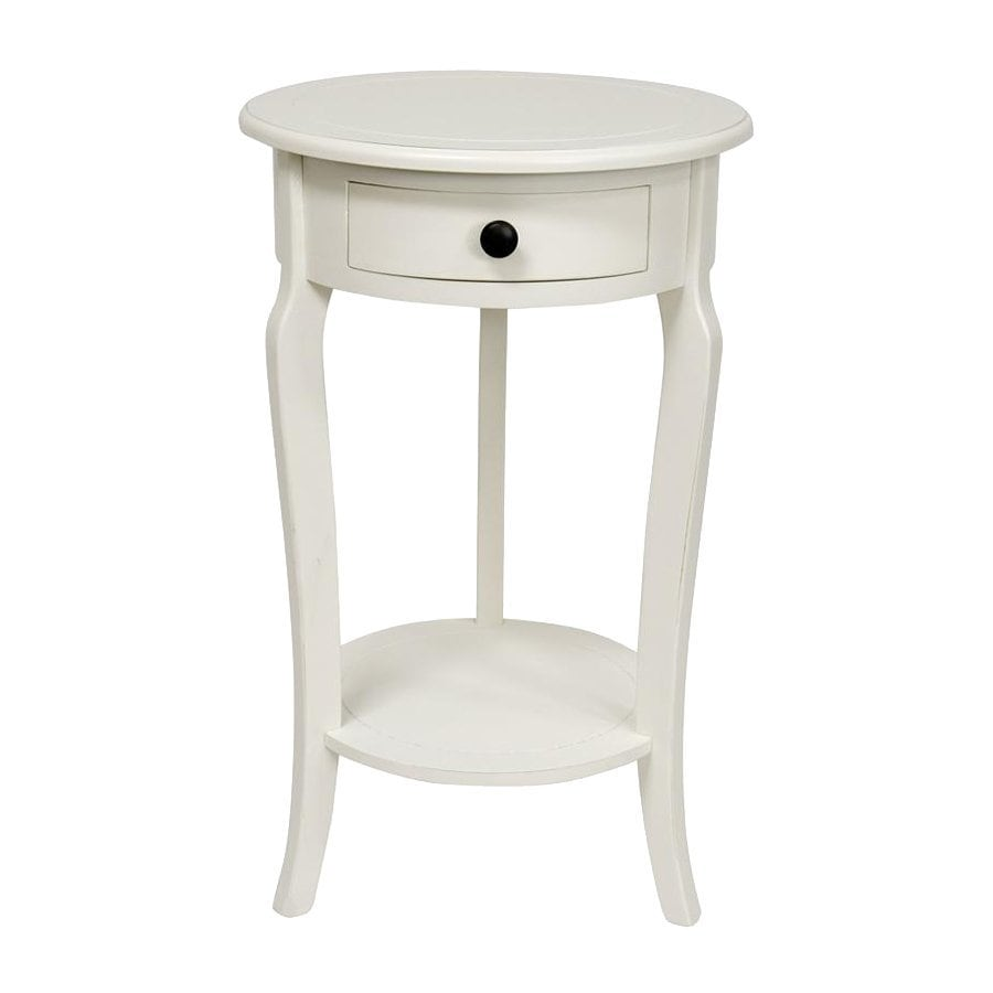 Oriental Furniture Classic Design White Pine Round End Table