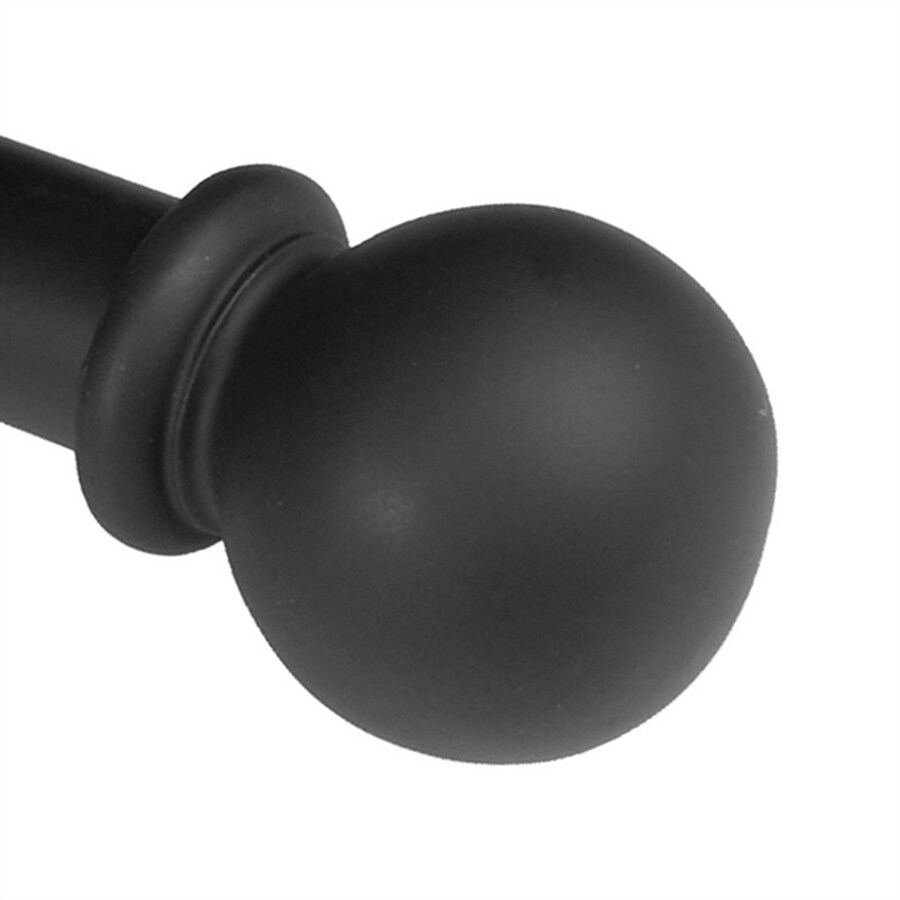 BCL Drapery Classic Ball 82-in to 120-in Black Steel Curtain Rod Set