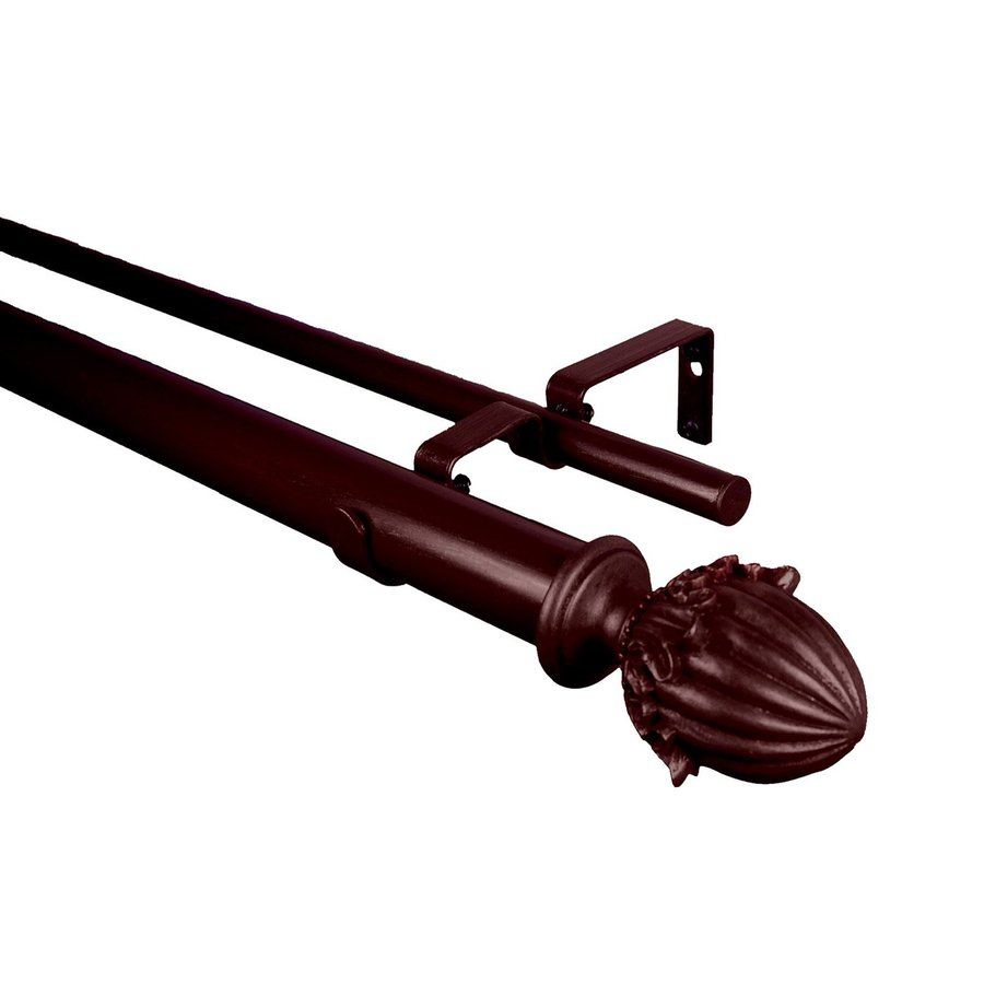 BCL Drapery Classic Acorn 28-in to 48-in Mahogany Steel Curtain Rod Set