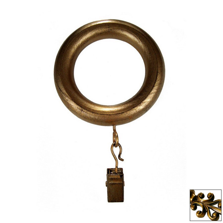 BCL Drapery 7 Pack Antique Gold Wood Curtain Rod Clip Rings