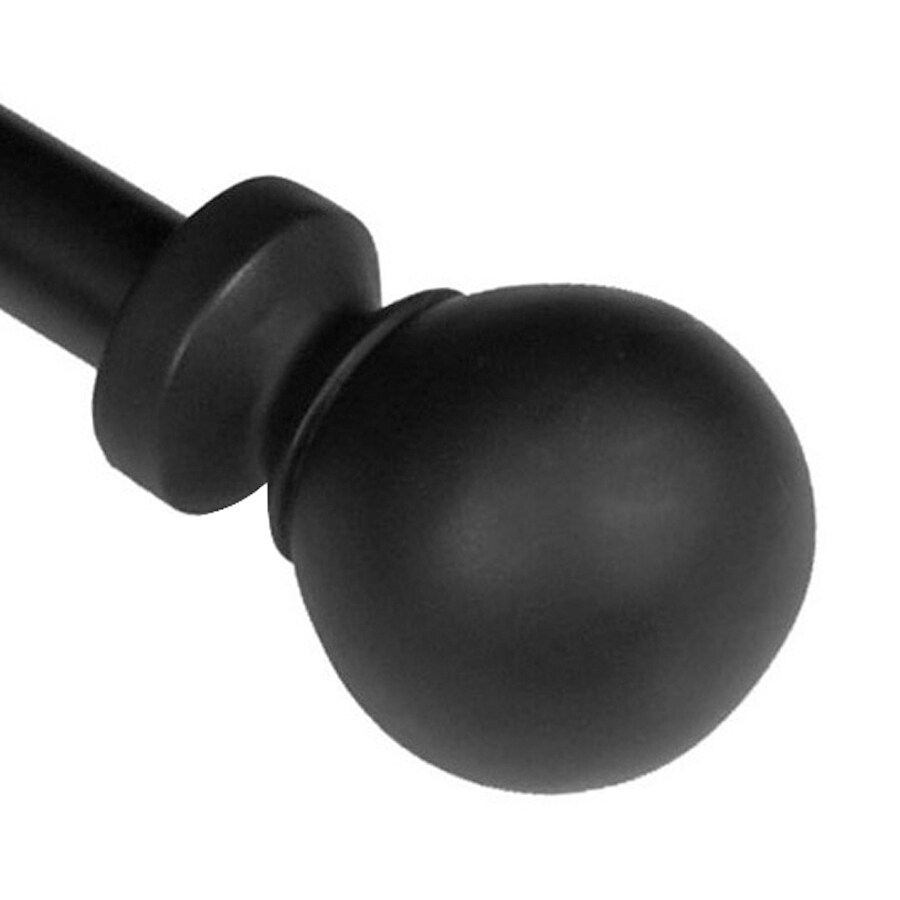 BCL Drapery Classic Ball 28-in to 48-in Black Steel Curtain Rod Set