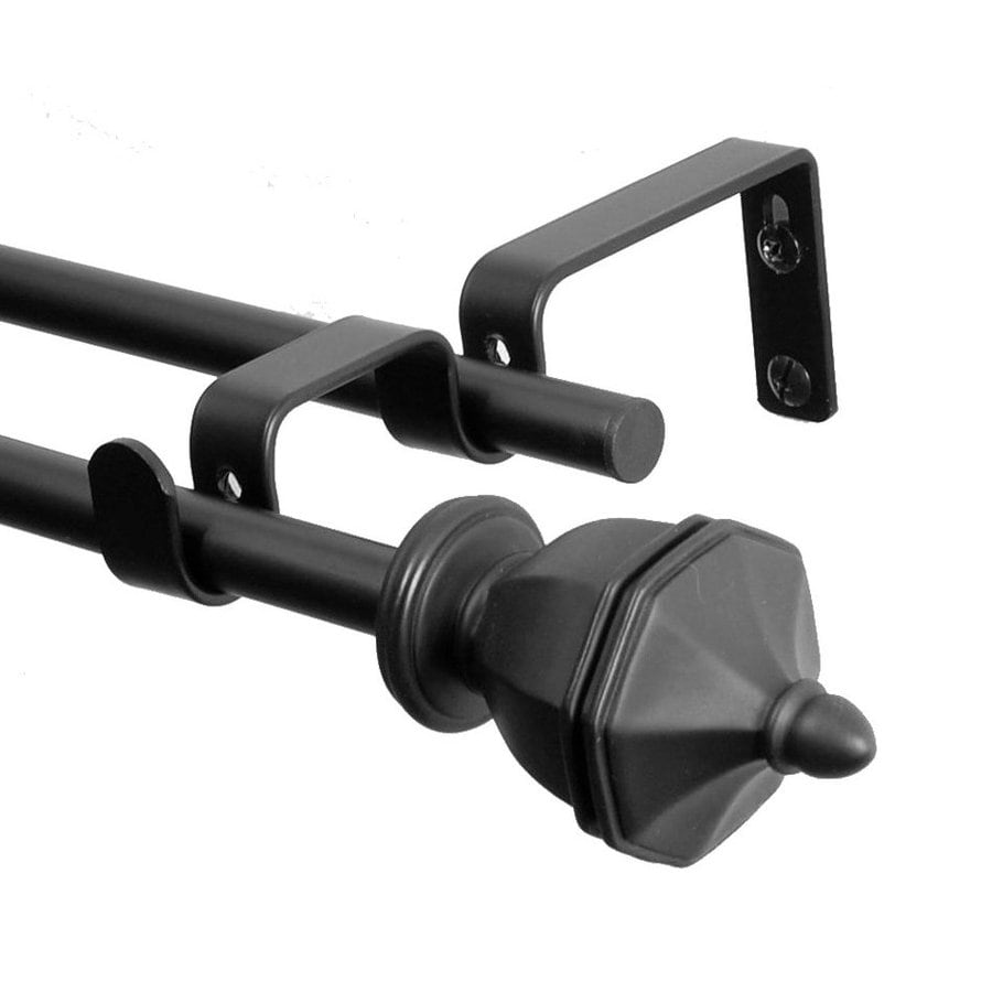 BCL Drapery Classic Urn 28-in to 48-in Black Steel Curtain Rod Set